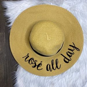 C.C Co Rosé All Day Natural Beach Floppy Sun Hat